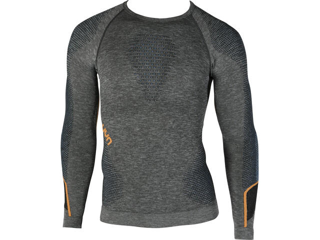 UYN Ambityon Melange UW T-shirt à manches longues Homme, black melange/atlantic/orange shiny